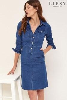 Lipsy Mid Blue Denim Utility Shirtdress