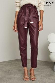 Lipsy Burgundy Regular Faux Leather Paper Bag Trouser