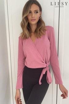 Lipsy Rose Pink Lounge Cosy Rib Collar Wrap Top