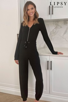 Lipsy Black Lounge Zip Front Cosy Jumpsuit