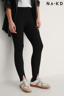 NA-KD Black Open Heel Knitted Leggings