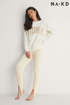 NA-KD Light Beige Open Heel Knitted Leggings