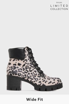 Yours Limited Black Suedette Leopard Platform Lace Up Heeled Boots In Wide Fit
