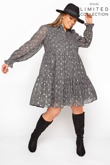 Yours Limited Grey Foil Snake Tiered Shirt Dress