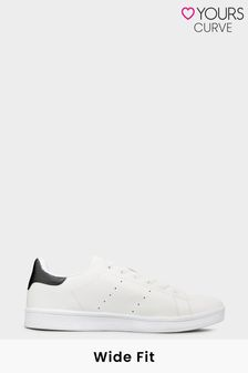Yours Limited White Vegan Faux Leather Trainers In Wide Fit