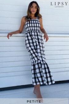 Lipsy Mono Check Petite Shirred Strappy Midi Dress