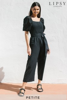Lipsy Black Petite Broderie and Linen Blend Jumpsuit