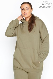 Yours Limited khaki Collection Curve Cotton Jersey Hoodie