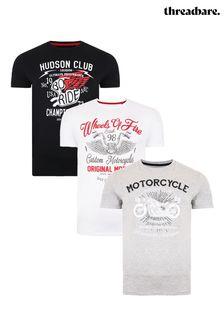 Threadbare Black Grey Marl White 3 Pack Front Print T Shirts