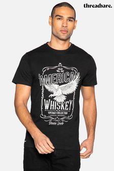Threadbare Black Gregory Front Print Cotton T Shirt
