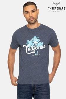 Threadbare Blue Venice Palm Front Print Cotton Rich T Shirt