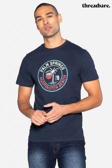 Threadbare Navy Nick Front Print Cotton T Shirt