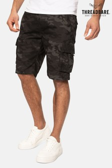 Threadbare charcoal Camo Print Buttane Cotton Camo Shorts