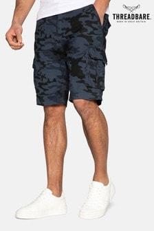 Threadbare Navy Camo Print Buttane Cotton Camo Shorts
