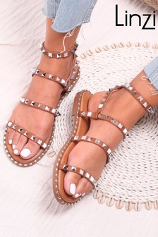 Linzi Tan Lulu Faux Leather Studded Gladiator Sandal