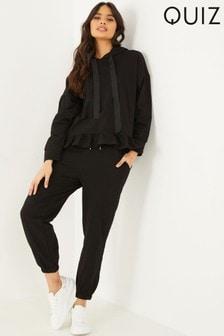 Quiz Black Frill Hem Loungewear Set