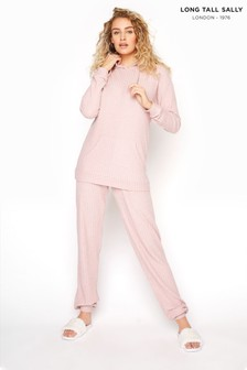 Long Tall Sally Pink Ribbed Co-ord Joggers