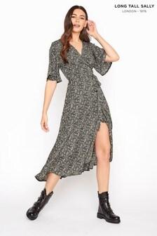Long Tall Sally Black Paisley Wrap Dress