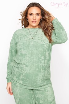 Bump It Up Green Flannel Towelling Co-ord Lounge Sweatshirt
