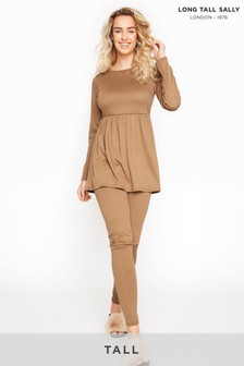 Long Tall Sally Brown Camel Ribbed Co-ord Leggings