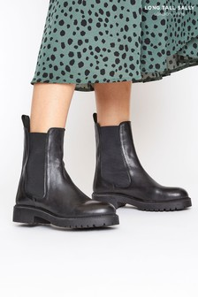 Long Tall Sally Black Leather Chelsea Boots