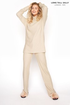 Long Tall Sally Neutral Soft Ribbed Co-ord Lounge Trousers