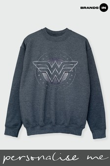 Brands In Dark Heather Grey Ladies Wonder Woman Sweatshirt by DC Comics