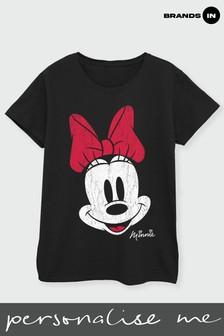Brands In Black Disney Mickey Mouse Minnie Beaten Face Women Black T-Shirt