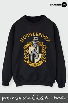 Brands In Black Womens Hufflepuff Crest Sweatshirt by Harry Potter