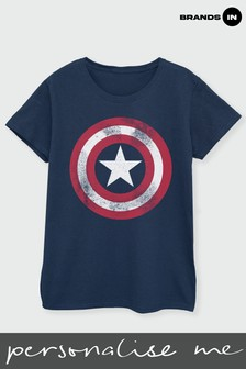 Brands In Navy Avengers Assemble Captain America Distressed Shield Women Navy T-Shirt