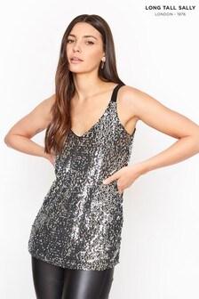 Long Tall Sally Silver Sequin Cami Top