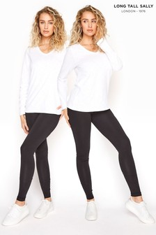 Long Tall Sally Black Two Pack Jersey Leggings