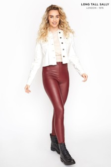 Long Tall Sally Red Leather Look Leggings