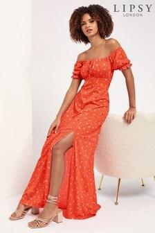 Lipsy Red Floral Regular Jersey Milkmaid Maxi Dress