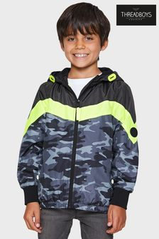 Threadboys Grey Cecil Camo Colourblock Hooded Jacket
