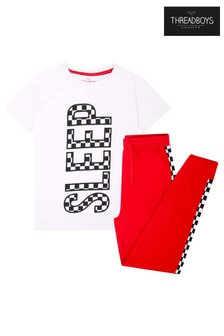 Threadboys White Checkered Cotton Pyjama Set