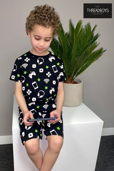 Threadboys Black Wifi Cotton Pyjama Set