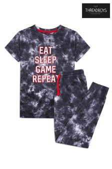 Threadboys Black Eat Tie Dye Cotton Pyjama Set