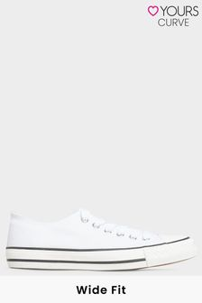 Yours White Canvas Low Trainer In Wide Fit