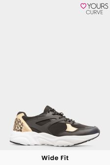 Yours Limited Black Leopard Print Contrast Trainers In Wide Fit