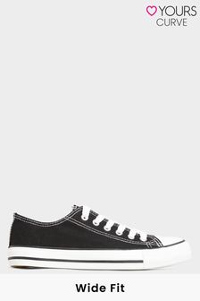 Yours Limited Black Canvas Low Trainer In Wide Fit