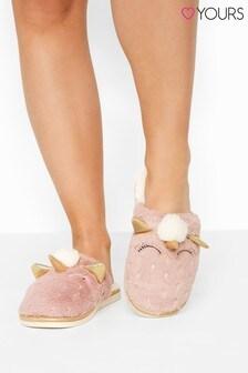 Yours Pink Vegan Faux Fur Unicorn Mule Slippers In Regular Fit