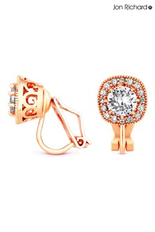 Jon Richard Pink Rose Gold Plated Halo Clip On Earrings