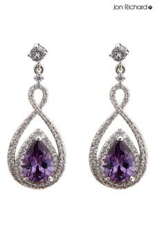 Jon Richard Purple Rhodium Plated Cubic Zirconia Purple Infinity Earrings