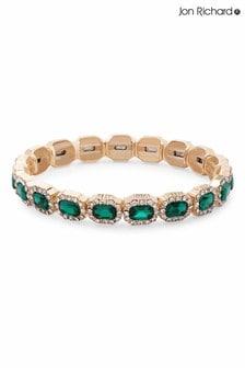 Jon Richard Green Gold Plated Emerald Green Crystal Rectangle Stretch Bracelet
