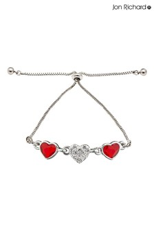 Jon Richard Red Silver Plated Made with Swarovski Red Dancing Heart Bracelet