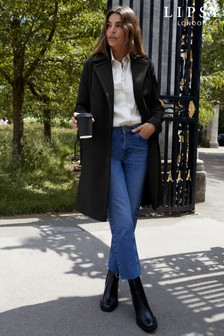 Lipsy Black Regular Belted Robe Coat