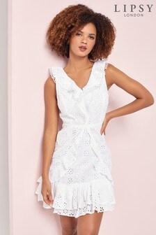 Lipsy White Broderie Frill Mini Dress