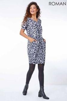 Roman Grey Animal Leopard Print Dress