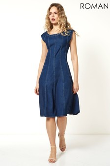 Roman Blue Top Stitch Skater Dress